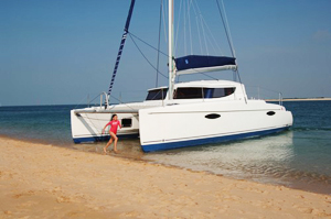 beaching-catamaran